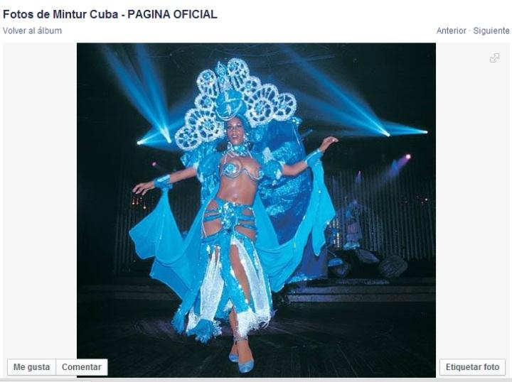Imagen que promociona en la página de Fb del MINTUR el Cabaret Tropicana